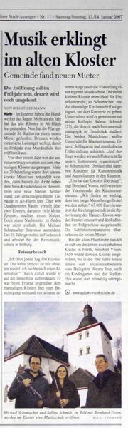"""""""Musik erklingt im alten Kloster"""", KStA 13.01.2007"""