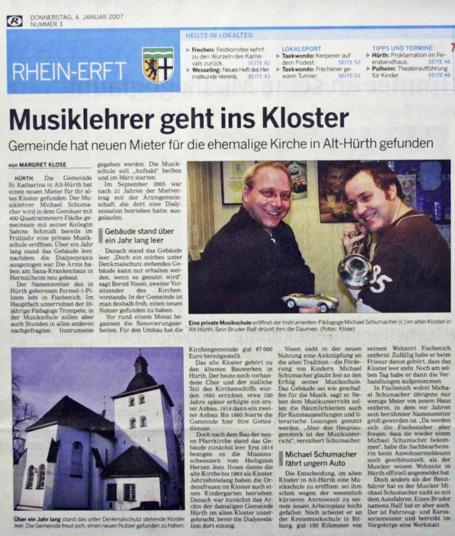 """""""Musiklehrer geht ins Kloster"""", Rhein-Erft Rundschau, 04.01.2007"""