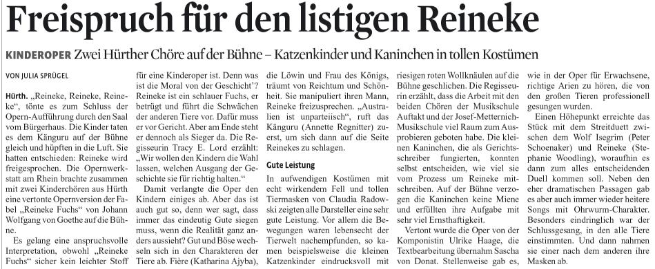 """""""Freispruch für den listigen Reineke"""", KStA, 28.11.2011"""