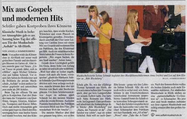 """""""Mix aus Gospels und modernen Hits"""", KStA 30.06.2008"""